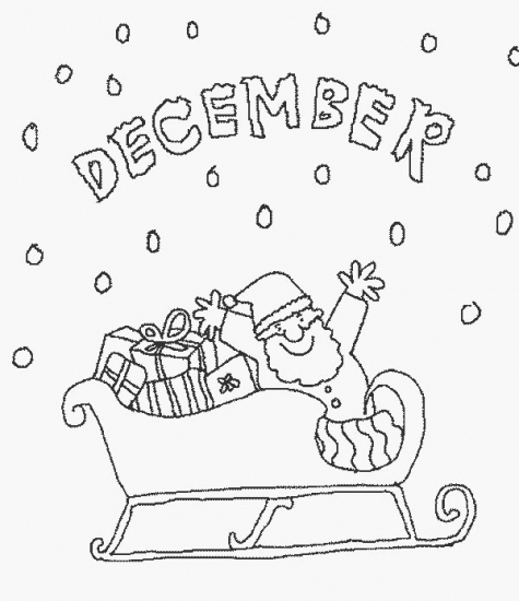 Calendar december coloring pages for December coloring page