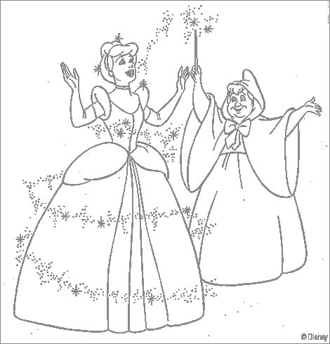 Cinderella cin godmother coloring pages for Cinderella fairy godmother coloring pages