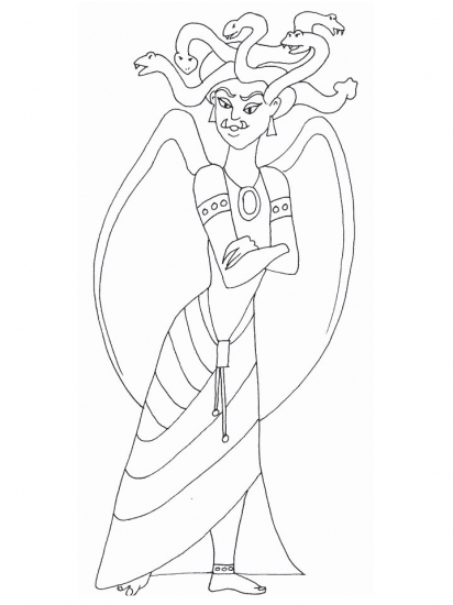 Greek medusa2 coloring pages for Medusa coloring page