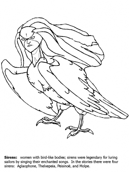 greek siren coloring pages With powerful siren