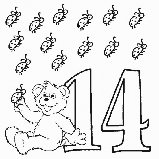 Sesame Street Number 14 Coloring Page