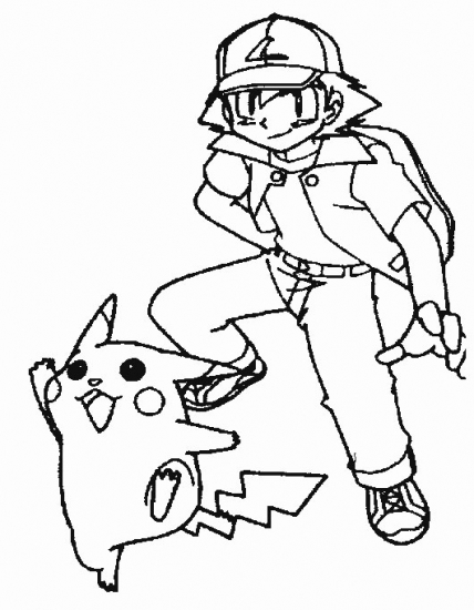 Ash And Pikachu Coloring Pages Ash And Pikachu Coloring Pages
